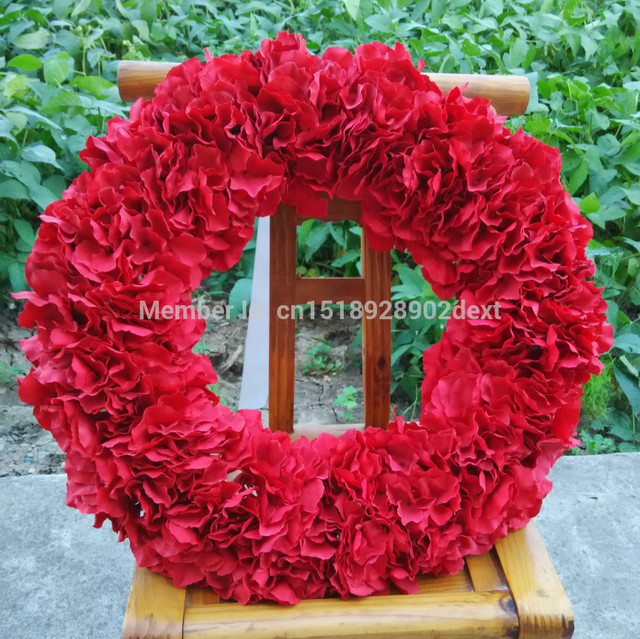 Christmas Decorative Flower Garland Front Door Wreath Red Hydrangea
