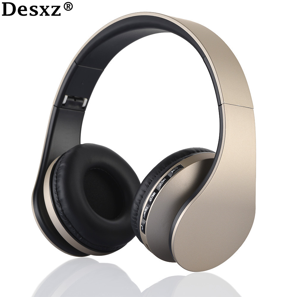 Desxz Earphone Wireless Headphones Bluetooth Headset Stereo Foldable Sport Mic TF Slot FM Radio over ear earbud Phone Earphones zealot b570 headset lcd foldable on ear wireless stereo bluetooth v4 0 headphones with fm radio tf card mp3 for smart phone
