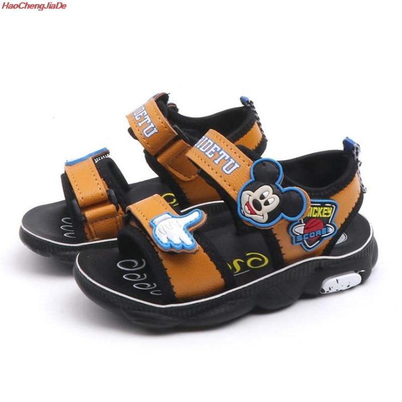 Kids Boys Girl Child Cartoon Strapped Sandals Hook/&Loop Flat Slides Beach Shoes