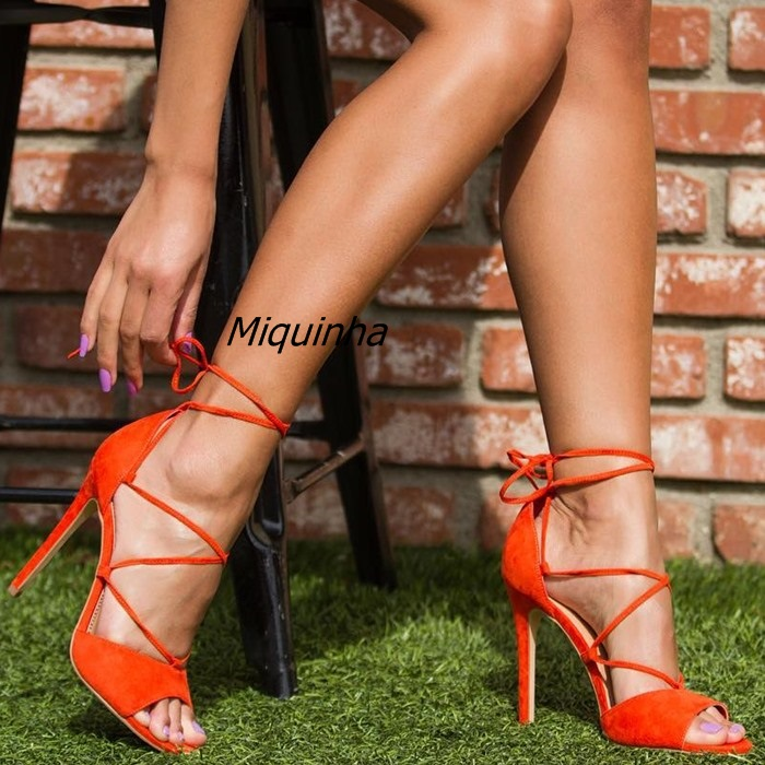 Classy Orange Suede Strappy Heels Sexy Women Cut-out Peep Toe Stiletto Heel Lace Up Pumps Fashion Cross Strap Dress Shoes Hot sexy slash collar 3 4 sleeve cut out backless lace dress for women