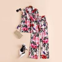 High Quality New 2017 Spring Fashion Runway Rose Patterns Print Women Tops Shirts Blouse Pajama Sets
