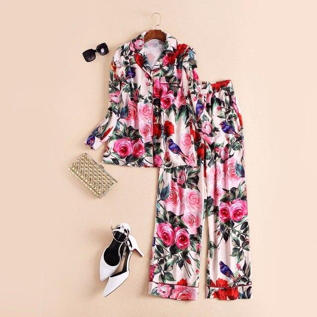 Новый 2016 весна лето мода впп цветочные роуз шаблоны печати женщины топы рубашки блузка + длинные брюки костюм из двух частей набор