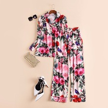 High quality New 2017 spring fashion runway rose patterns print women tops shirts blouse pajama sets + long pants two piece set