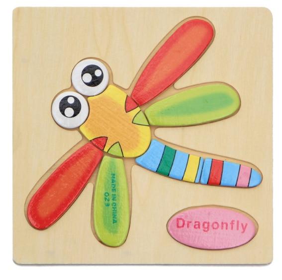 3D деревянные головоломки, игрушки для детей, Деревянные 3d Мультяшные головоломки с животными, интеллектуальные детские развивающие игрушки для детей - Цвет: Синий