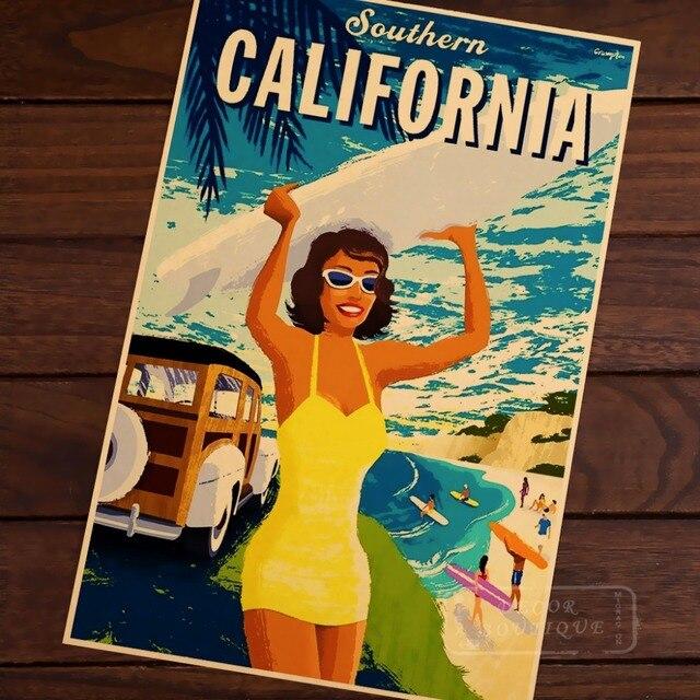 Southern California beach surf Sports Travel Vintage Retro Poster ...