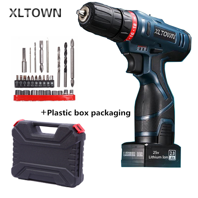 Xltown 25v rechargeable lithium battery electric screwdriver with a Plastic box packaging with 27pcs electric drill power tool 2000mah rechargeable lithium battery pack for nds lite with screwdriver
