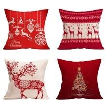 1Pcs Christmas Decoration Merry Christmas Letters Square Linen Pillowcase Santa Elk Bell Pillow Cover for Home Sofa Xmas Decor