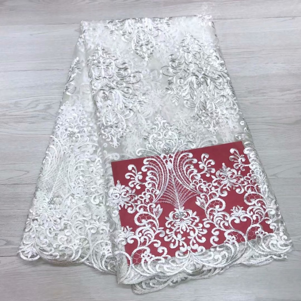 White Embroidery African French Lace Fabric High Quality Beaded Tulle Lace Fabric French Lace Fabric For