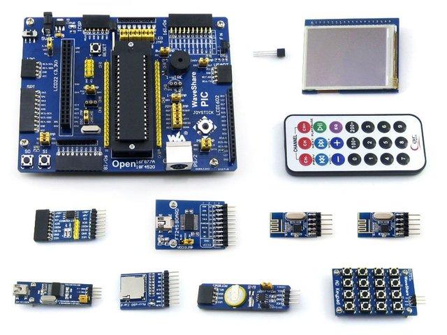 ПИК Совета PIC18F4520-I/P PIC18F4520 PIC 8-битный RISC Совет По Развитию + 11 Наборы Аксессуаров = Waveshare Open18F4520 Пакет