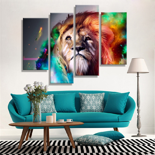 Oil Painting Canvas Abstract Animal Lion King Wall Art Home Decor Modern  Decorative Modular Wall Pictures
