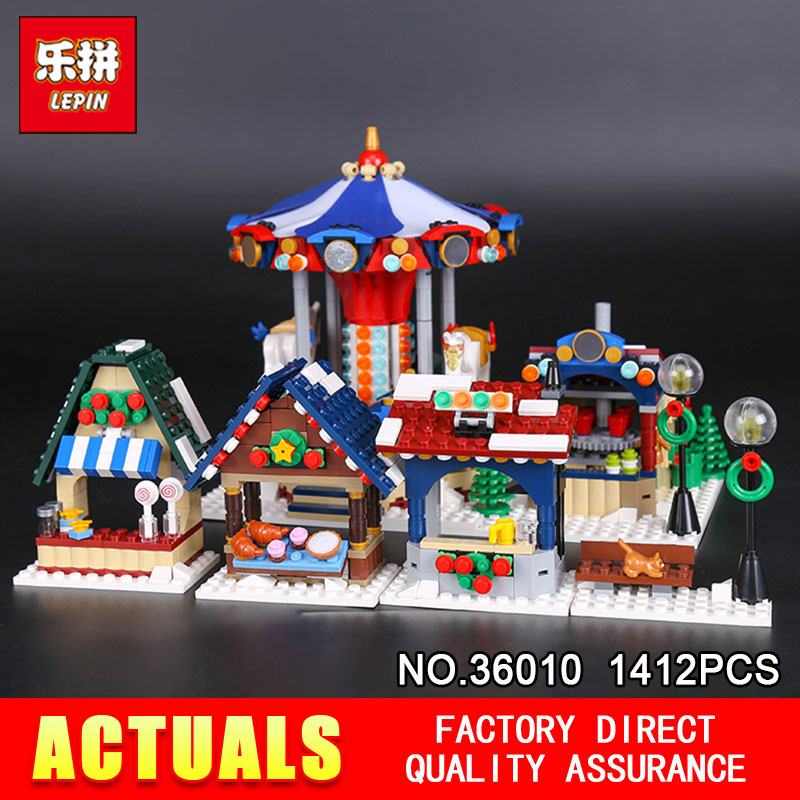Lepin 36010 1412Pcs The Winter Village Market Set Creative Series 10235 Building Blocks Bricks Educational DIY Holiday Toys lepin 36010 genuine creative series the winter village market set legoing 10235 building blocks bricks educational toys as gift