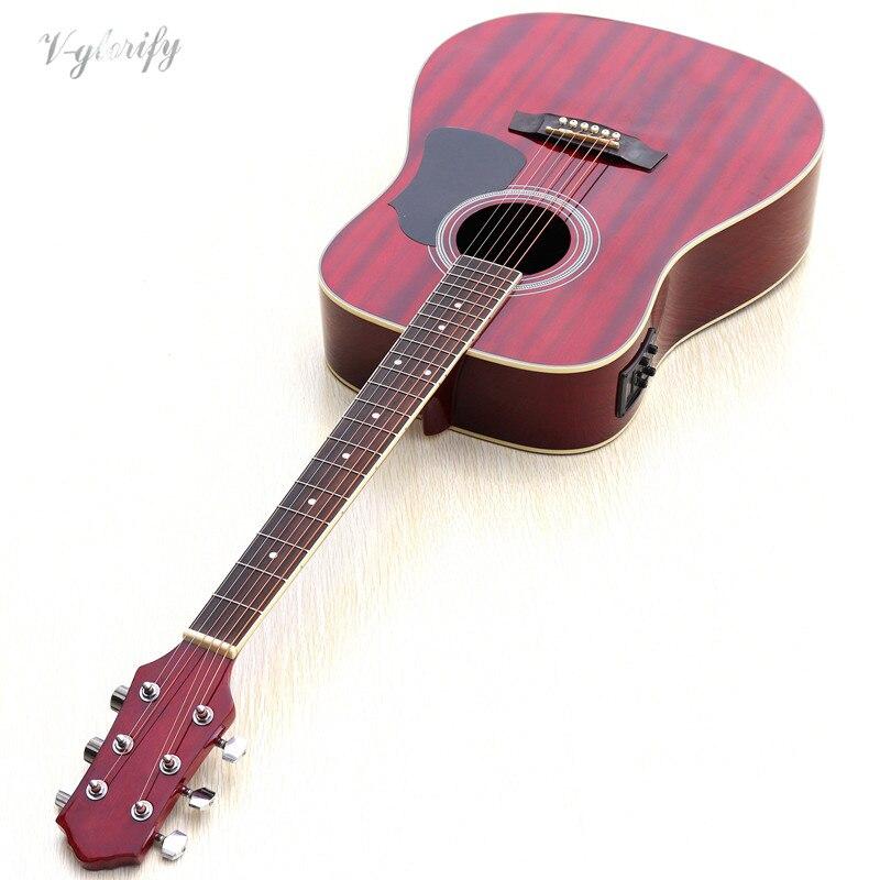 Pieno sapele legno elettrica chitarra acustica 41 pollici di trasporto accessoriPieno sapele legno elettrica chitarra acustica 41 pollici di trasporto accessori