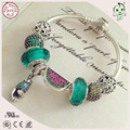 Best Quality Fashion Fitting Original Famous Brand Refreshing Silver Green Murano And Watermelon Charm 925 Real Silver Bracelet