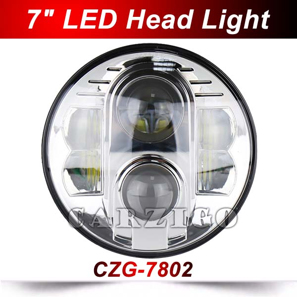 CZG-7802 7 led headlamp 80w h4 led headlight 7 inch round with DOT E9 DRL high low beam for harley motorcycle for jeep wrangler