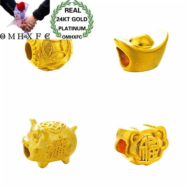 OMHXFC Bán Buôn Châu Âu Thời Trang Phụ Nữ Unisex Tiệc Sinh Nhật Cưới Quà Tặng May Mắn Lợn Thỏi Đính Hạt 24KT Vàng Mặt Dây Chuyền Charm PN285