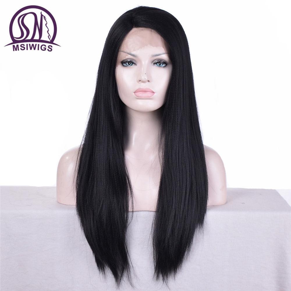 MSIWIGS Yaki Straight Syntetisk Spets Fram Paryk För Svarta Kvinnor - Syntetiskt hår