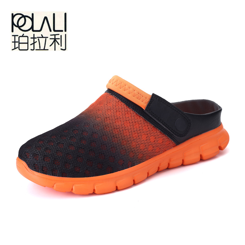 POLALI Big Size 36-46 Men Summer Shoes Sandals New Breathable Beach Flip Flops Slip On Mens Slippers Mesh Lighted Unisex Shoes(China)