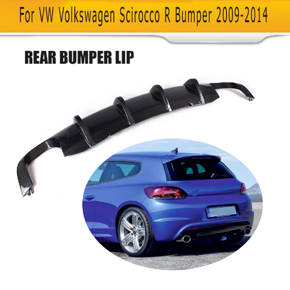 Carbon fiber car rear lip diffuser For Volkswagen VW Scirocco R R20 Bumper 2009 - 2014 Black FRP dual exhaust one outlet
