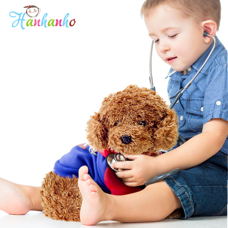 Simulation Poodle Plush Toy Superman Puppy Stuffed Animal Gift For Children Soft Doll Teddy Dog Puppy Model With Clothes 45cm cartoon movie teddy bear ted plush toys soft stuffed animal dolls classic toy 45cm 18 kids gift