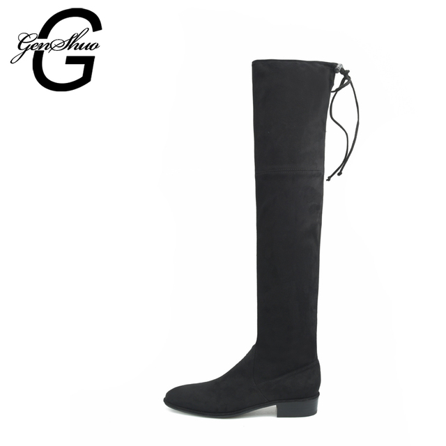 Autumn Winter New Boats Boots Women's Over The Knee Boots Sexy Stretch Botas Low Heel Black High Boots Casual Women's Flat Boots