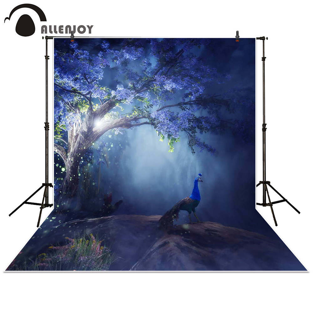 Allenjoy Photography Backdrop forest Dawn Peacock fantasy fairy trees background props photocall photobooth Photo studio allenjoy background for photo studio full moon spider black cat pumpkin halloween backdrop newborn original design fantasy props