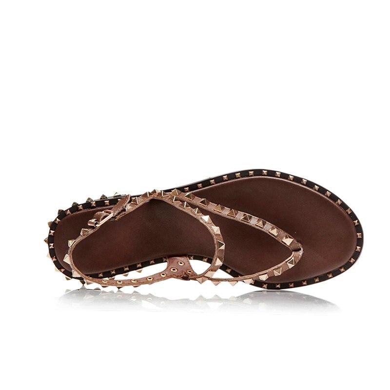 정품 가죽 여성 샌들 버클 리벳 클래식 여름 숙녀 신발 스퀘어 힐 여성 낮은 굽 샌들 블랙 화이트 브라운-에서로우힐부터 신발 의  그룹 3