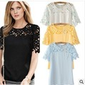 Summer Women's Short Sleeve Pullover Chiffon Blouses&shirts Hollow Out Lace Top Show Thin White Black Fashion Shirt T06