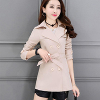 2019 Korean version Spring and autumn coat Women Double Breasted turndown collar Solid color Belted jacket aa1046
