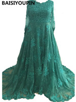 Long Sleeve Evening Dress 2017 Vestidos Longos Para Festa Emerald Green A Line Lace Appliques Elegant