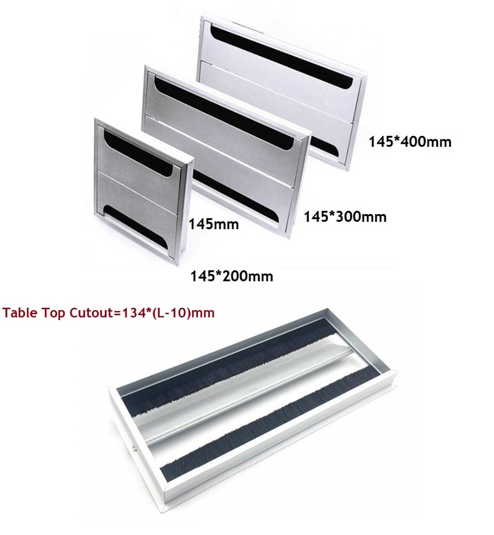 Premintehdw Rectangle Aluminum Office Table TV Cabinet Desk Wire Cable Hole Brush Double Flap Cover Grommet Side by Side