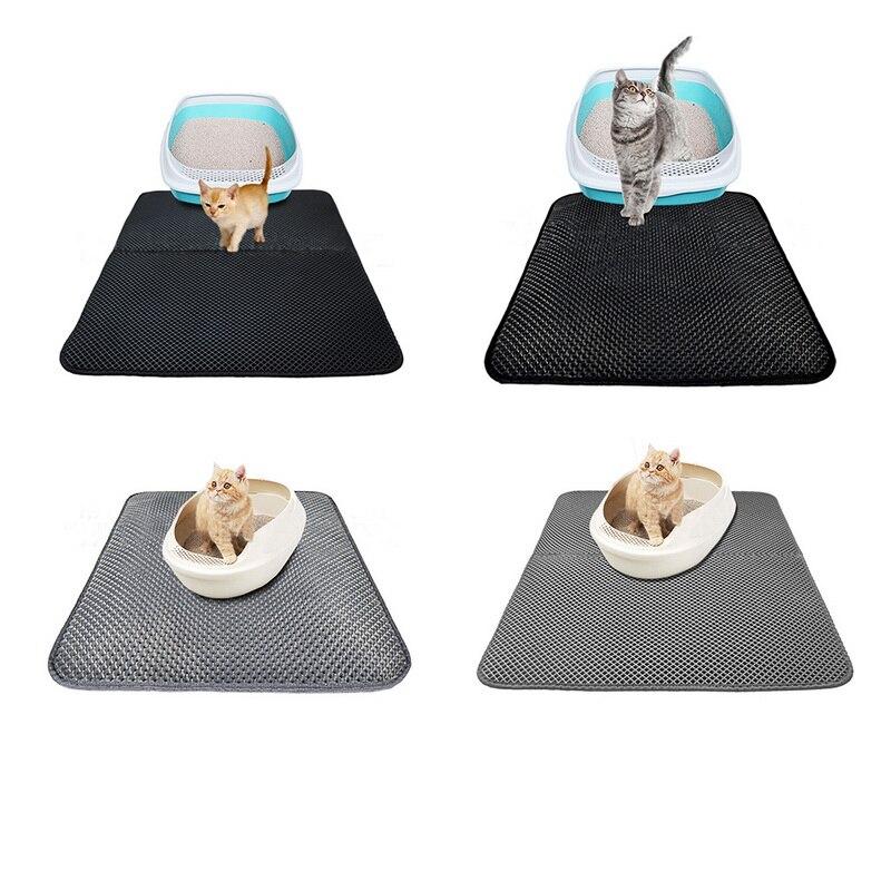 Urijk Black Gray Cat Litter Mat Eva Double-layer Cat Litter Trapper Mats Waterproof Bottom Layer Black Cat Bed Cat Supplies Mats #6