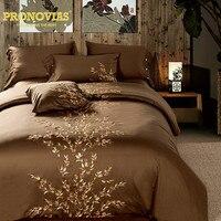 Luxury 60s Egyptian Cotton Satin Waterwave Bedding Set King Queen Size Doona Duvet Cover Flat Sheet
