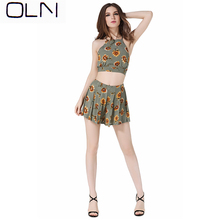 sets OLN Korean new arrival wholesale Spring and summer sexy printed strap 2 piece womens small vest shorts suit