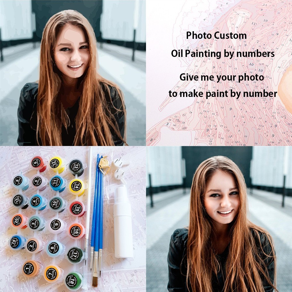 Personality Photo Customized DIY Picture Drawing by Numbers Canvas Coloring by Numbers Acrylic Oil Paint Paintings By Numbers(China)