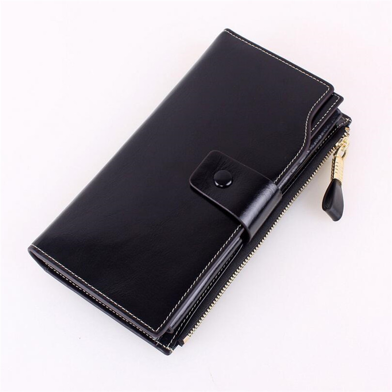 Fashion Women Genuine cow leather wallet Big capacity women purse vintage oil wax cow leather organizer walelts JM-01304 genuine cow leather women s wallet long style big capacity tri fold organizer wallets knitting women s purses jm 01289