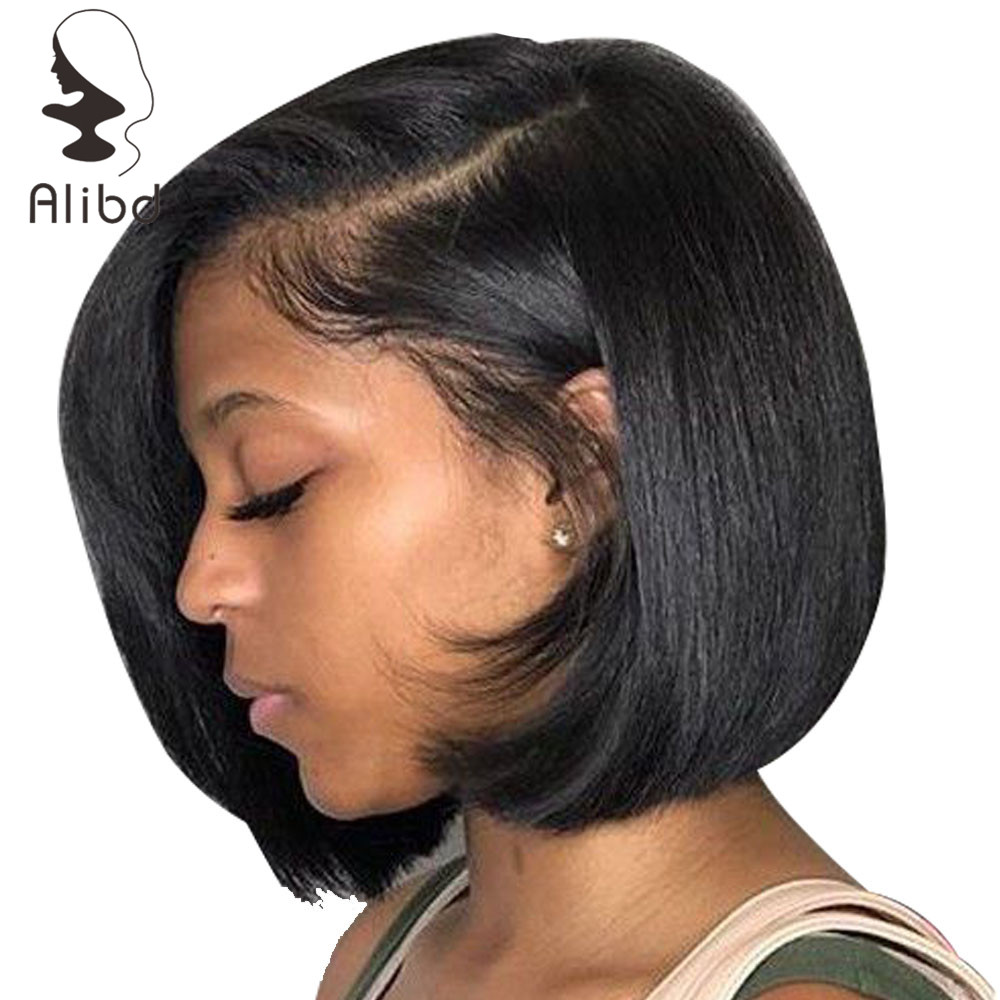 Alibd Short Lace Front Human Hair Wig Brazilian Straight Glueless Bob Wig Natural Color Remy Hair Lace Bob Wig With Baby Hair