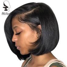 Bob Wig Human-Hair Straight Brazilian Lace Alibd Short with Glueless Natural-Color