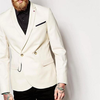 2017 Double Breasted Ivory Men Suit With Black Pants Fashion 2 Pieces Prom Party Tuxedo Groomsmen Wedding Suits (Jacket+Pants)