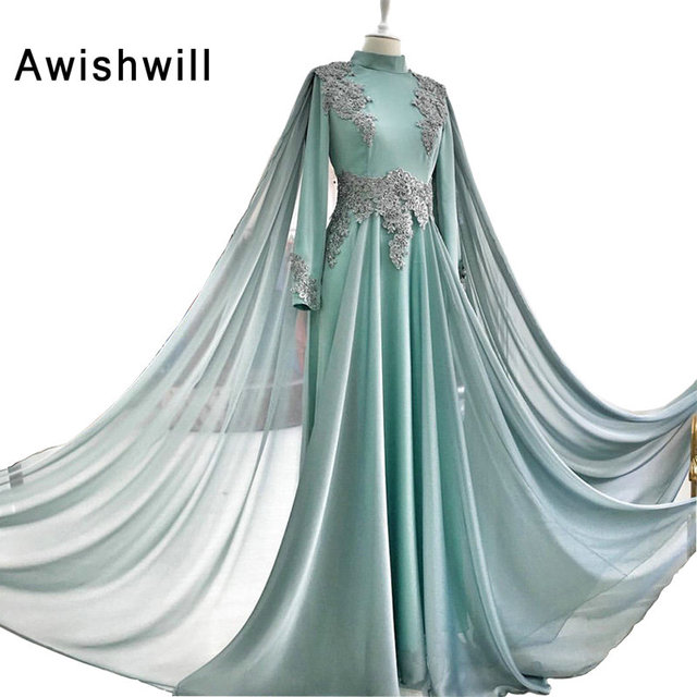 99c7de3281 US $138.75 25% OFF|Aliexpress.com : Buy Elegant Evening Gowns With Cape  High Neckline Appliques Prom Dress for Party Formal Dresses Long Sleeves ...
