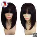 Hot Sale Human Hair Bob Lace Front Wigs With Full Bangs 100% Peruvian Virgin Short Bob Cut Wigs For Women With Baby Hair