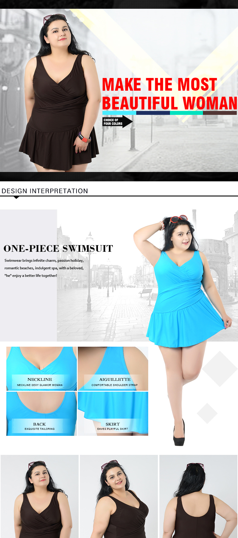 Swimwear Women Plus Size Dress Swimsuit One Piece May Female Beach ... 8b409575fc83