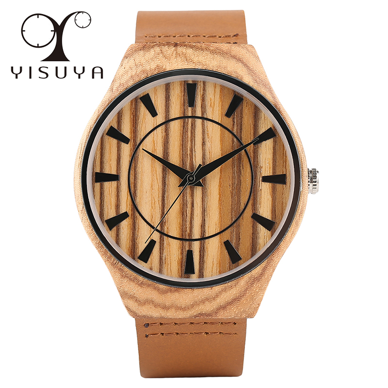YISUYA Luxury Nature Wood Watch Male Simple Creative Mens Quartz Wooden Watches Genuine Leather Band Gift