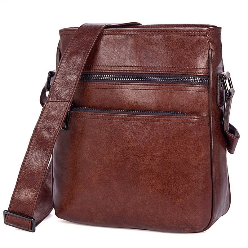 Retro casual male bag genuine leather men messenger crossbody bag high quality business travel cowhide shoulder bag genuine leather crossbody messenger shoulder bag men business cowhide tote high quality travel casual male bags lj 962