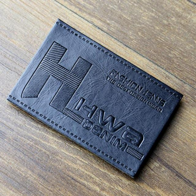 US $79 38 19% OFF|custom logo name own embossed printed Jeans main leather  labels, garment accessories PU leather label for trousers bags-in Garment