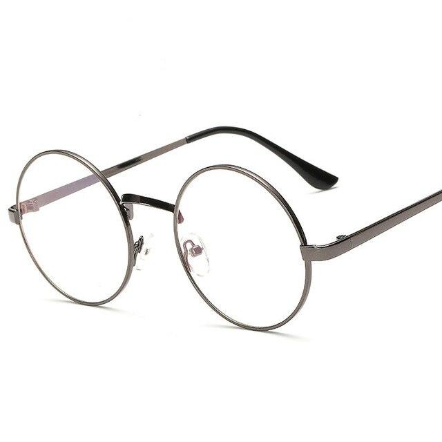 de5db0d20ef4 Women Vintage Glasses Frame Plain Mirror Big Round Metal Optical Frame For  Girl Eyeglass Clear Lens oculos feminino de grau