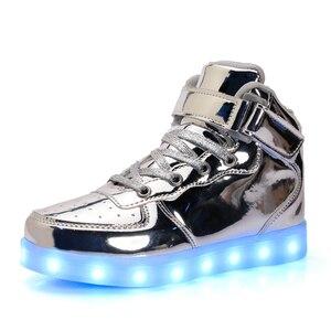 Image 2 - Strongshen sapatos infantis, sapatos para crianças, casuais e meninos, meninas, com carregador usb, luz, dourado, 2018 prata