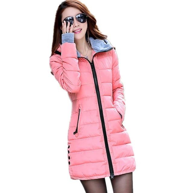 Camperas Invierno Mujer 2017 Mulheres Jaqueta de Inverno Parka Com Luvas de Algodão Maxi C2261 Amassado Jaquetas Casacos Plus Size Casaco Longo