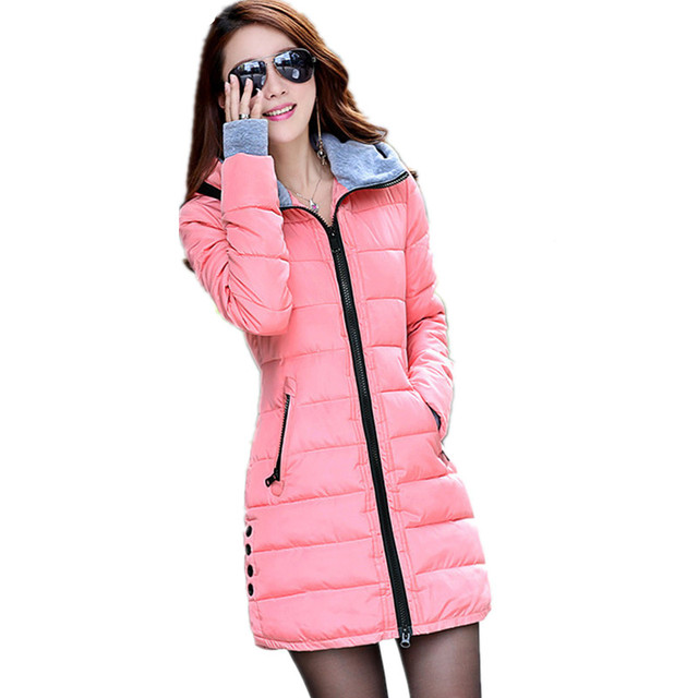 Camperas mujer invierno 2017冬ジャケット女性パーカー付き手袋綿マキシキルトジャケットコートプラスサイズロングジャケットC2261