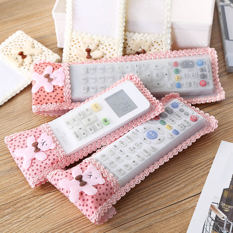Bear Fabric Lace TV Air Conditioning Remote Control Bow Cover Dust Bag Case SKD88