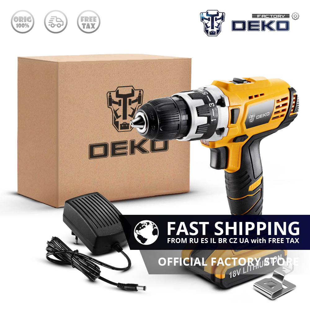 DEKO GCD18DU2 18V Lithium Battery Electric Screwdriver Wireless Mini Power Driver Variable Speed Cordless Drill Standard